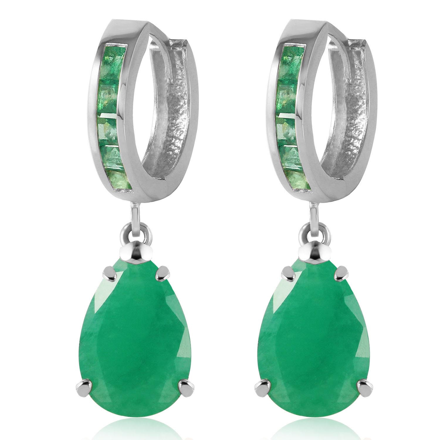Emerald Droplet Huggie Earrings 1.3 ctw in 9ct White Gold