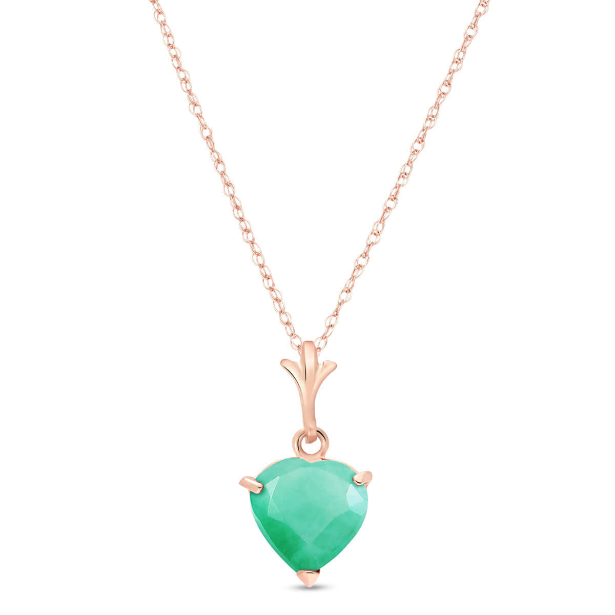Emerald Heart Pendant Necklace 1.2 ct in 9ct Rose Gold