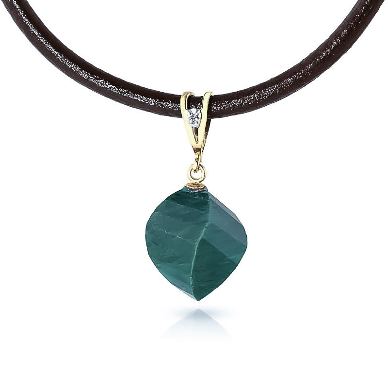 Emerald Leather Pendant Necklace 15.26 ctw in 9ct Gold