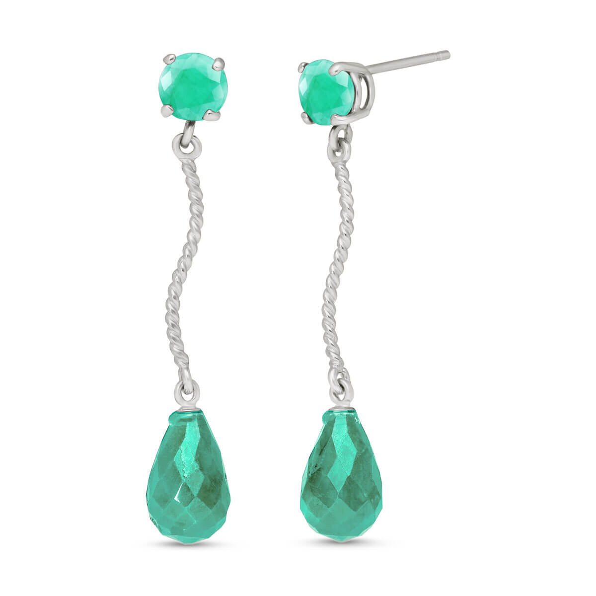Emerald Lure Drop Earrings 7.9 ctw in 9ct White Gold