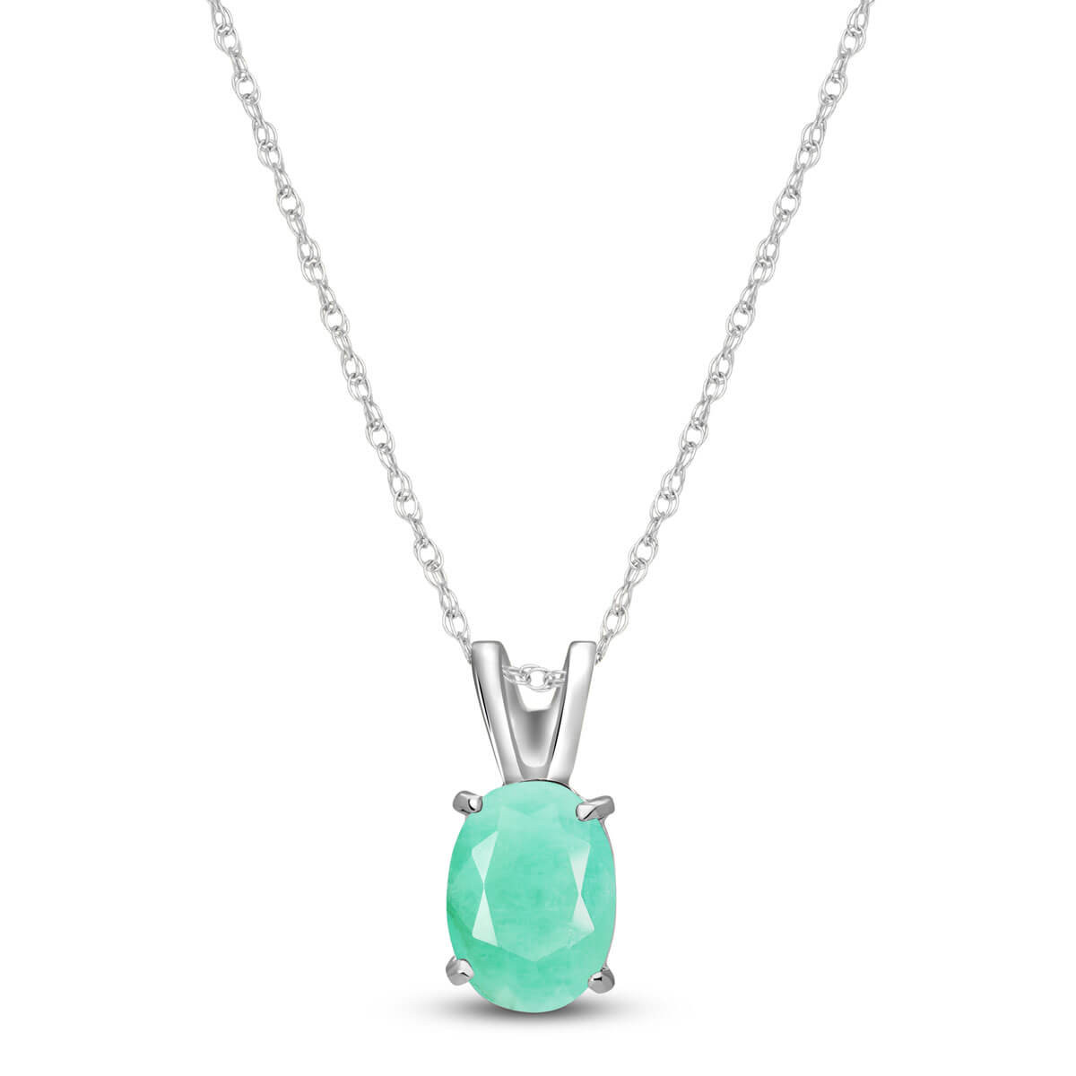 Emerald Oval Pendant Necklace 0.75 ct in 9ct White Gold