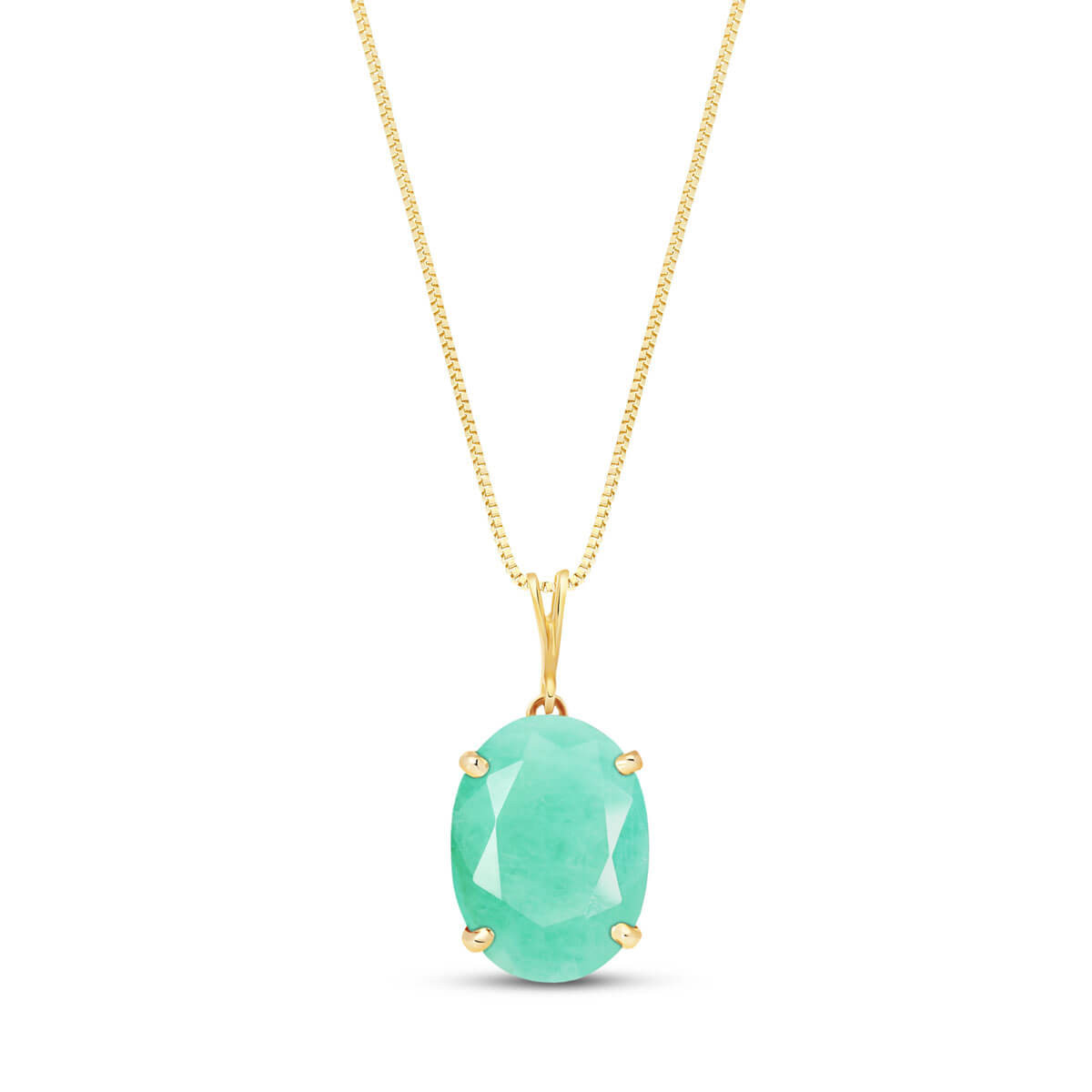 Emerald Oval Pendant Necklace 6.5 ct in 9ct Gold