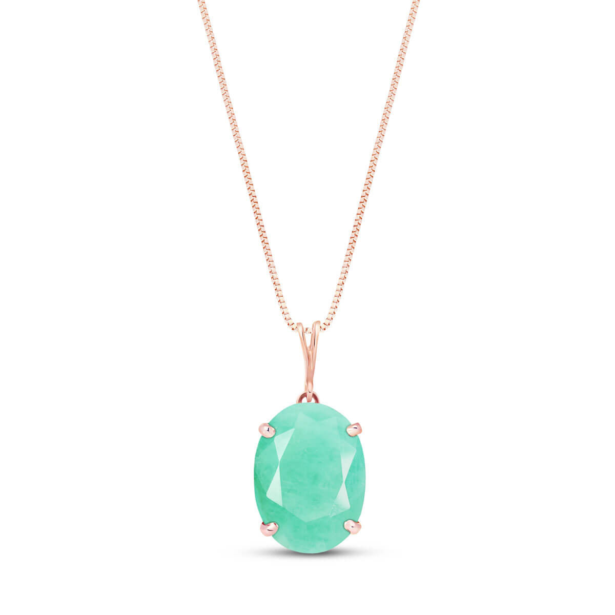 Emerald Oval Pendant Necklace 6.5 ct in 9ct Rose Gold
