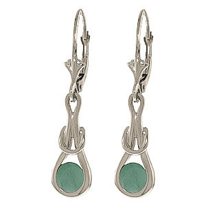 Emerald San Francisco Drop Earrings 1.3 ctw in 9ct White Gold