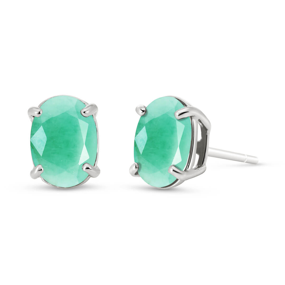 Emerald Stud Earrings 1.5 ctw in 9ct White Gold