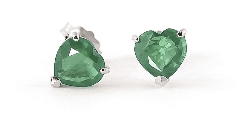 Emerald Stud Earrings 2.4 ctw in 9ct White Gold
