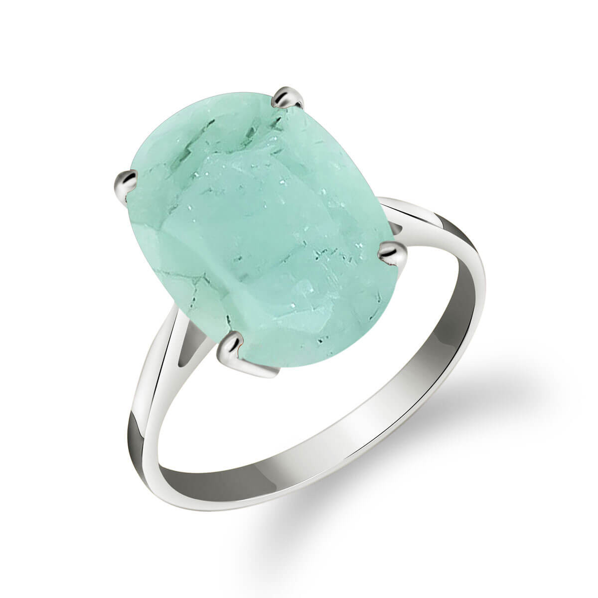 Emerald Valiant Ring 6.5 ct in 9ct White Gold