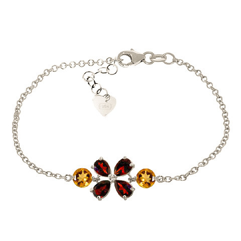 Garnet & Citrine Adjustable Bracelet in 9ct White Gold
