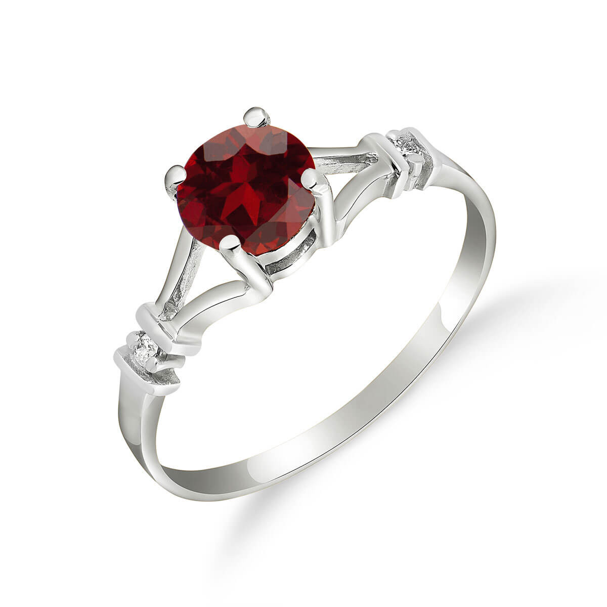 Garnet & Diamond Aspire Ring in 9ct White Gold