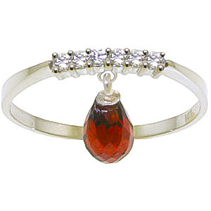 Garnet & Diamond Band in 9ct White Gold