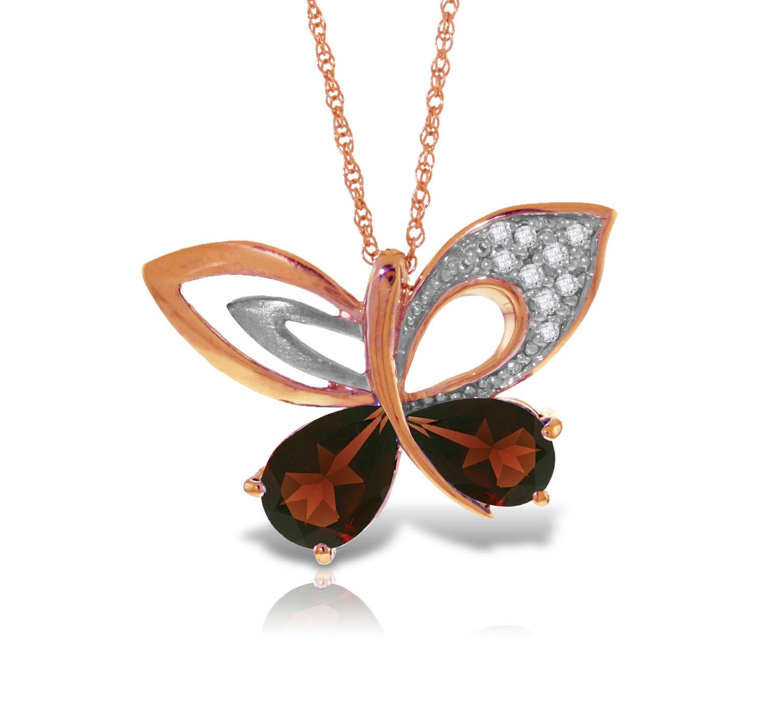 Garnet & Diamond Butterfly Pendant Necklace in 9ct Rose Gold