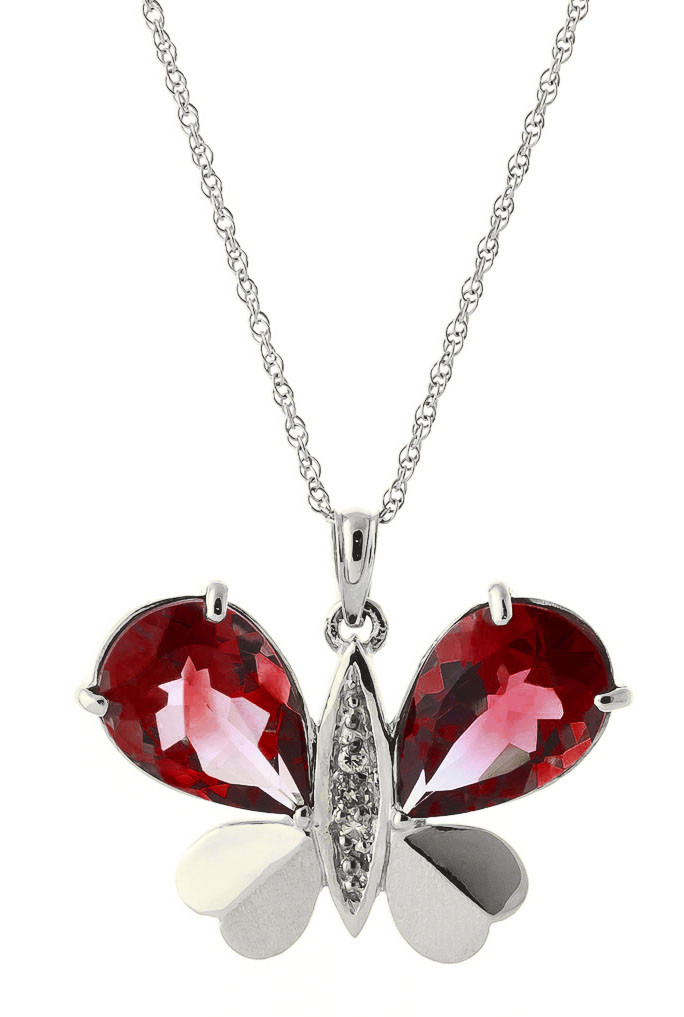 Garnet & Diamond Butterfly Pendant Necklace in 9ct White Gold