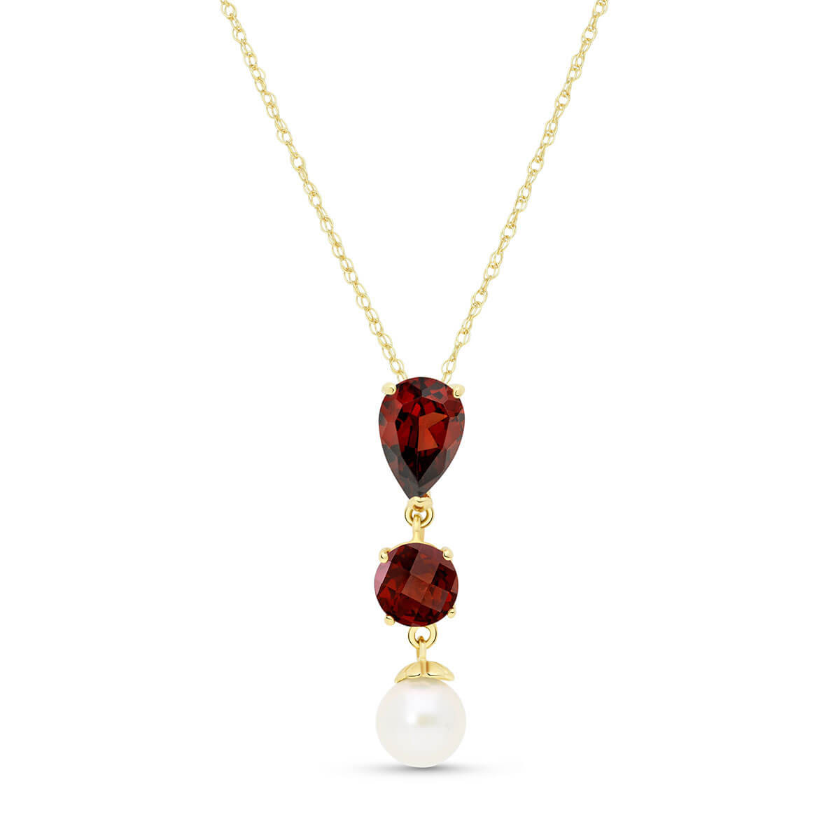 Garnet & Pearl Hourglass Pendant Necklace in 9ct Gold