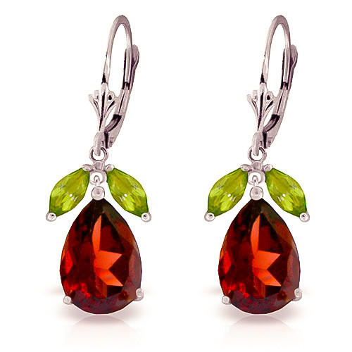 Garnet & Peridot Drop Earrings in 9ct White Gold