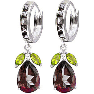 Garnet & Peridot Huggie Drop Earrings in 9ct White Gold