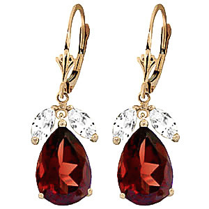 Garnet & White Topaz Drop Earrings in 9ct Gold
