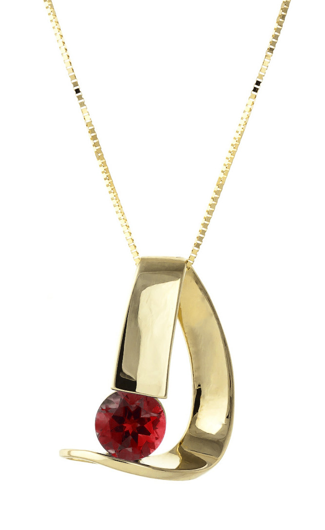 Garnet Arc Pendant Necklace 1 ct in 9ct Gold