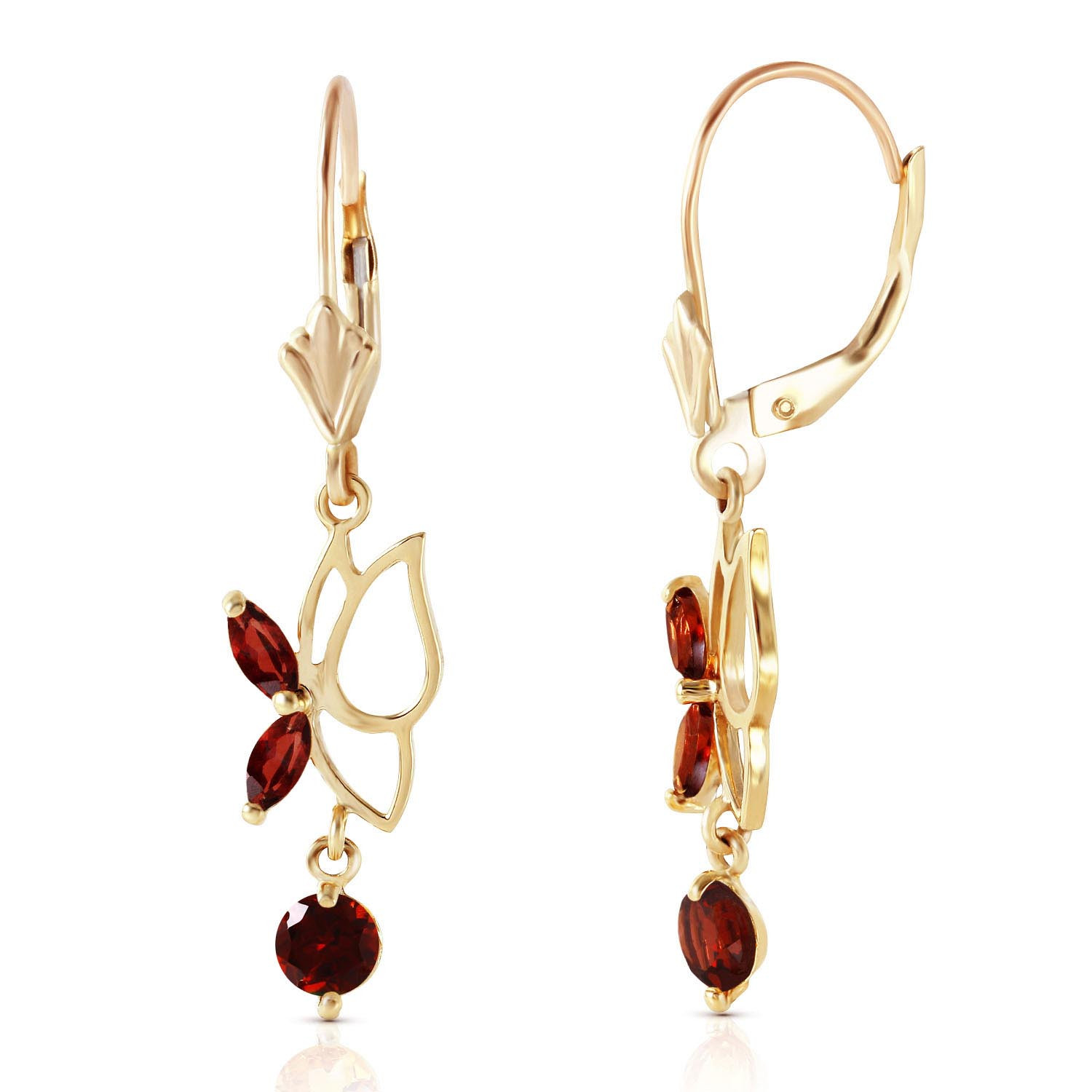 Garnet Butterfly Drop Earrings 0.35 ctw in 9ct Gold