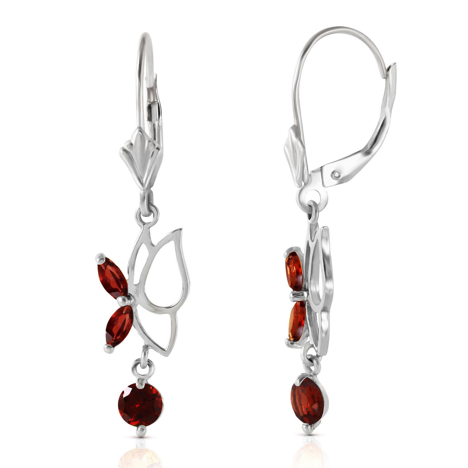 Garnet Butterfly Drop Earrings 0.35 ctw in 9ct White Gold