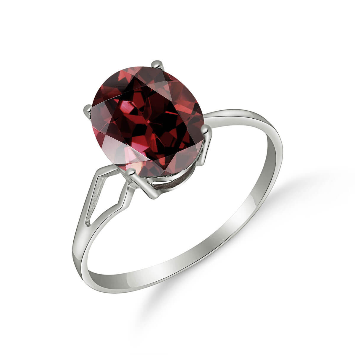Garnet Claw Set Ring 2.2 ct in Sterling Silver