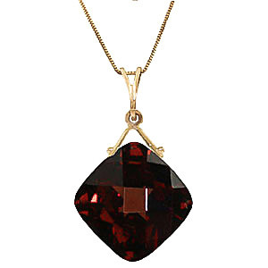 Garnet Cushion Pendant Necklace 8.75 ct in 9ct Gold