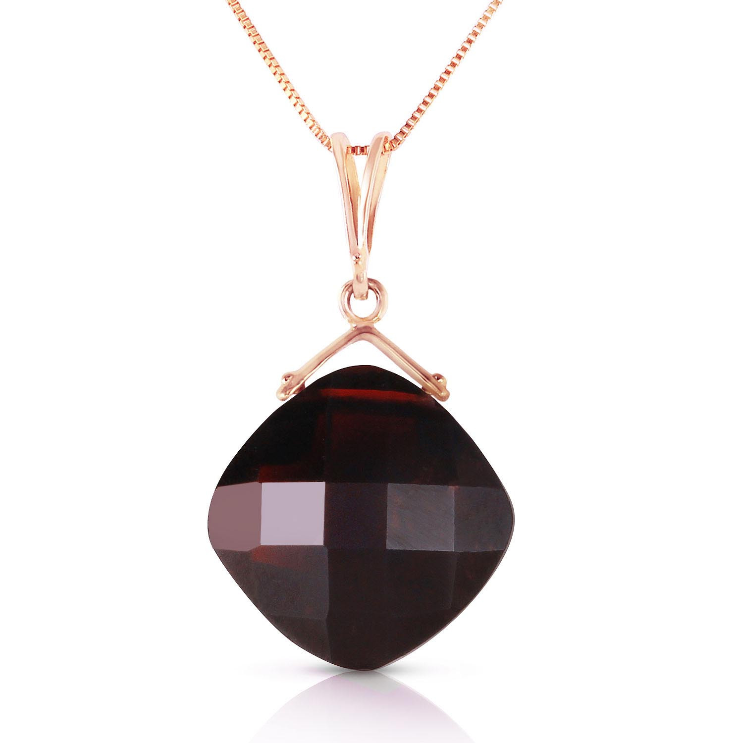 Garnet Cushion Pendant Necklace 8.75 ct in 9ct Rose Gold