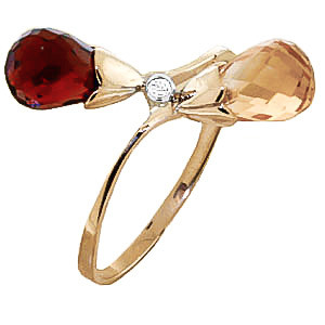 Garnet, Diamond & Citrine Duo Ring in 9ct Gold