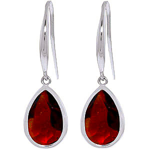 Garnet Elliptical Drop Earrings 5 ctw in 9ct White Gold