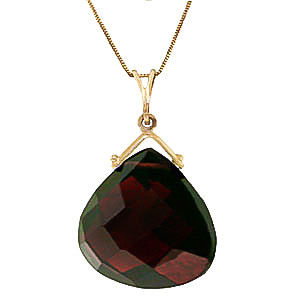 Garnet Elliptical Pendant Necklace 8.5 ct in 9ct Gold