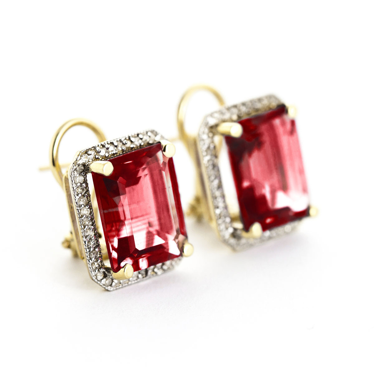 Garnet French Clip Halo Earrings 15 4 Ctw In 9ct Gold