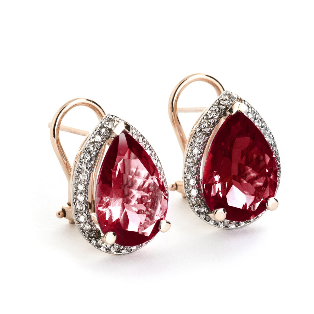 Garnet French Clip Halo Earrings 8 12 Ctw In 9ct Rose Gold