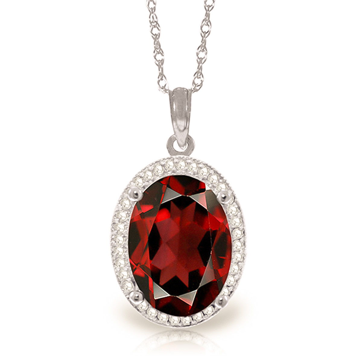 Garnet Halo Pendant Necklace 6.23 ctw in 9ct White Gold