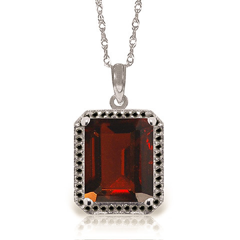 Garnet Halo Pendant Necklace 7.7 ctw in 9ct White Gold