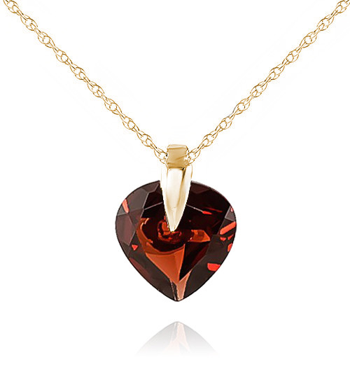 Garnet Heart Pendant Necklace 1.15 ct in 9ct Gold