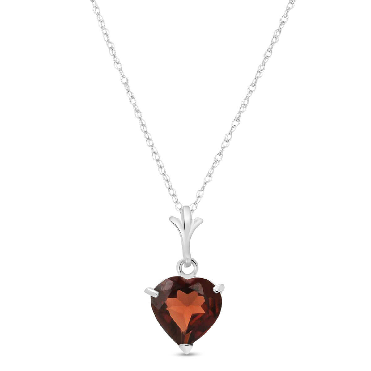 Garnet Heart Pendant Necklace 1.5 ct in 9ct White Gold