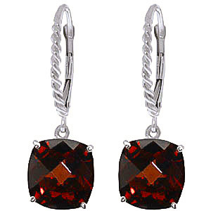 Garnet Rococo Twist Drop Earrings 9 ctw in 9ct White Gold