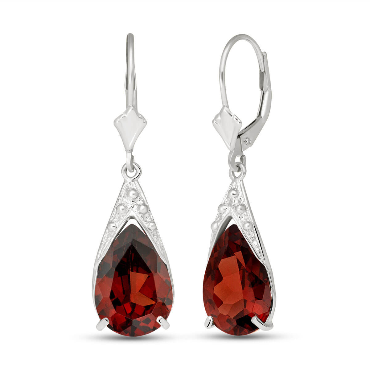 Garnet Snowcap Drop Earrings 10 ctw in 9ct White Gold