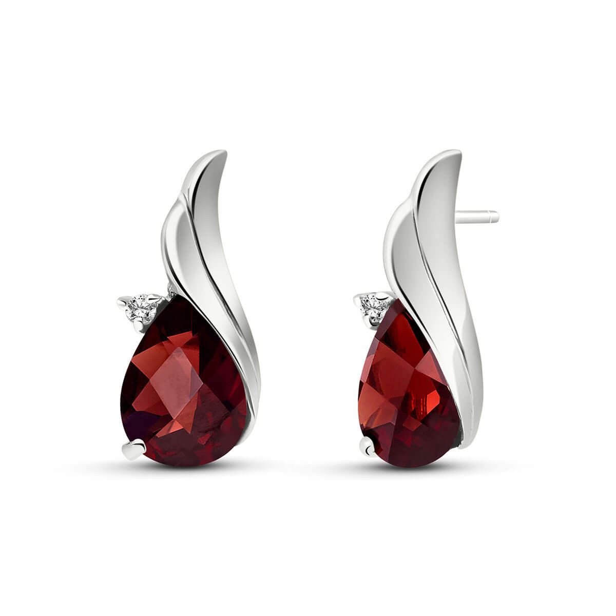 Garnet Stud Earrings 4.06 ctw in 9ct White Gold