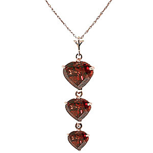 Garnet Triple Heart Pendant Necklace 3.03 ctw in 9ct Rose Gold