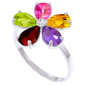 Gemstone Five Petal Ring 2.22 ctw in 9ct White Gold