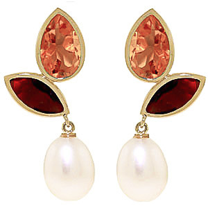 Gemstone Petal Drop Earrings 16 ctw in 9ct Gold
