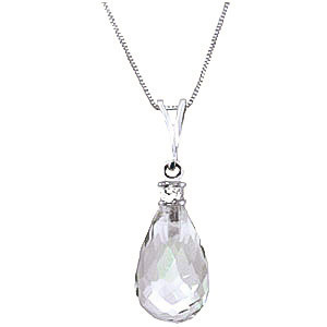 Green Amethyst & Diamond Beret Pendant Necklace in 9ct White Gold