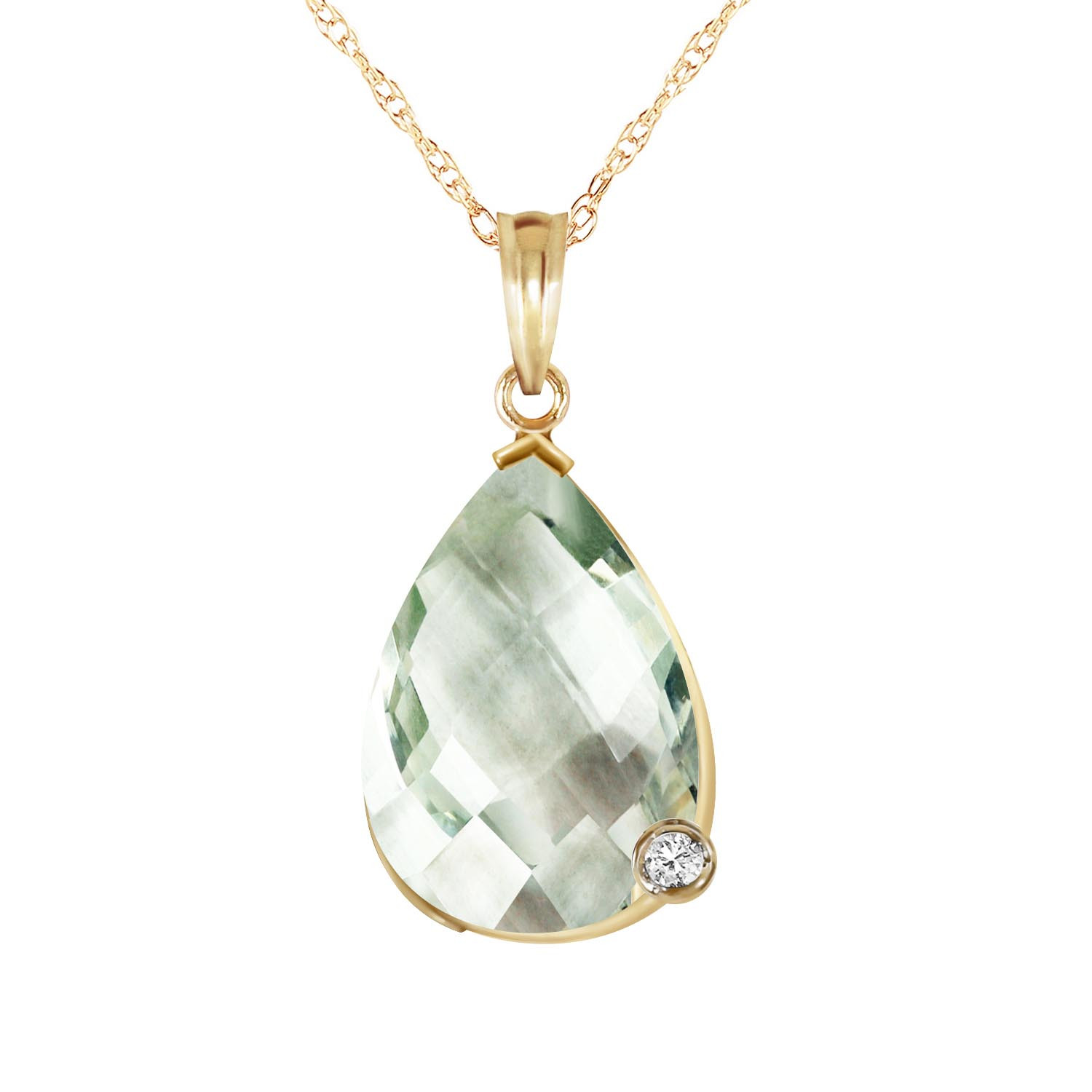 Green Amethyst & Diamond Chequer Pendant Necklace in 9ct Gold