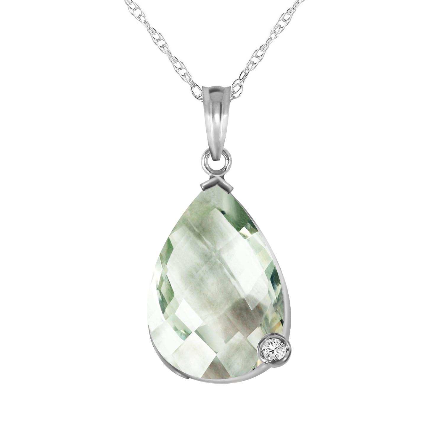 Green Amethyst & Diamond Chequer Pendant Necklace in 9ct White Gold