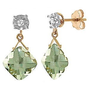 Green Amethyst & Diamond Deflection Stud Earrings in 9ct Gold