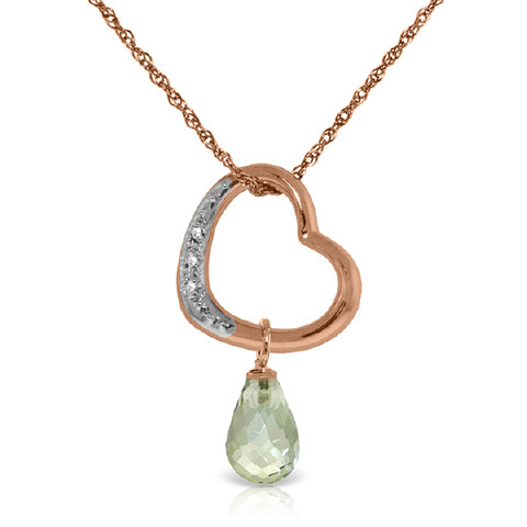 Green Amethyst & Diamond Heart Pendant Necklace in 9ct Rose Gold