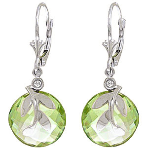 Green Amethyst & Diamond Olive Leaf Drop Earrings in 9ct White Gold