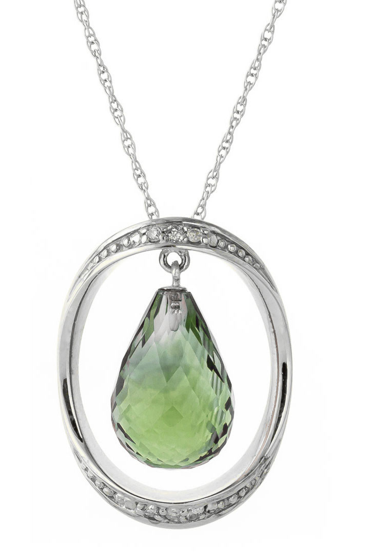 Green Amethyst & Diamond Pendant Necklace in 9ct White Gold