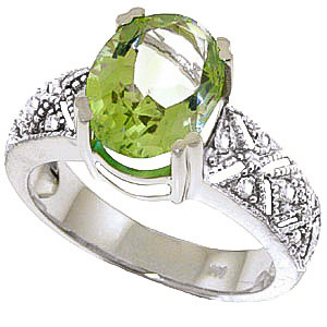 Green Amethyst & Diamond Renaissance Ring in 9ct White Gold