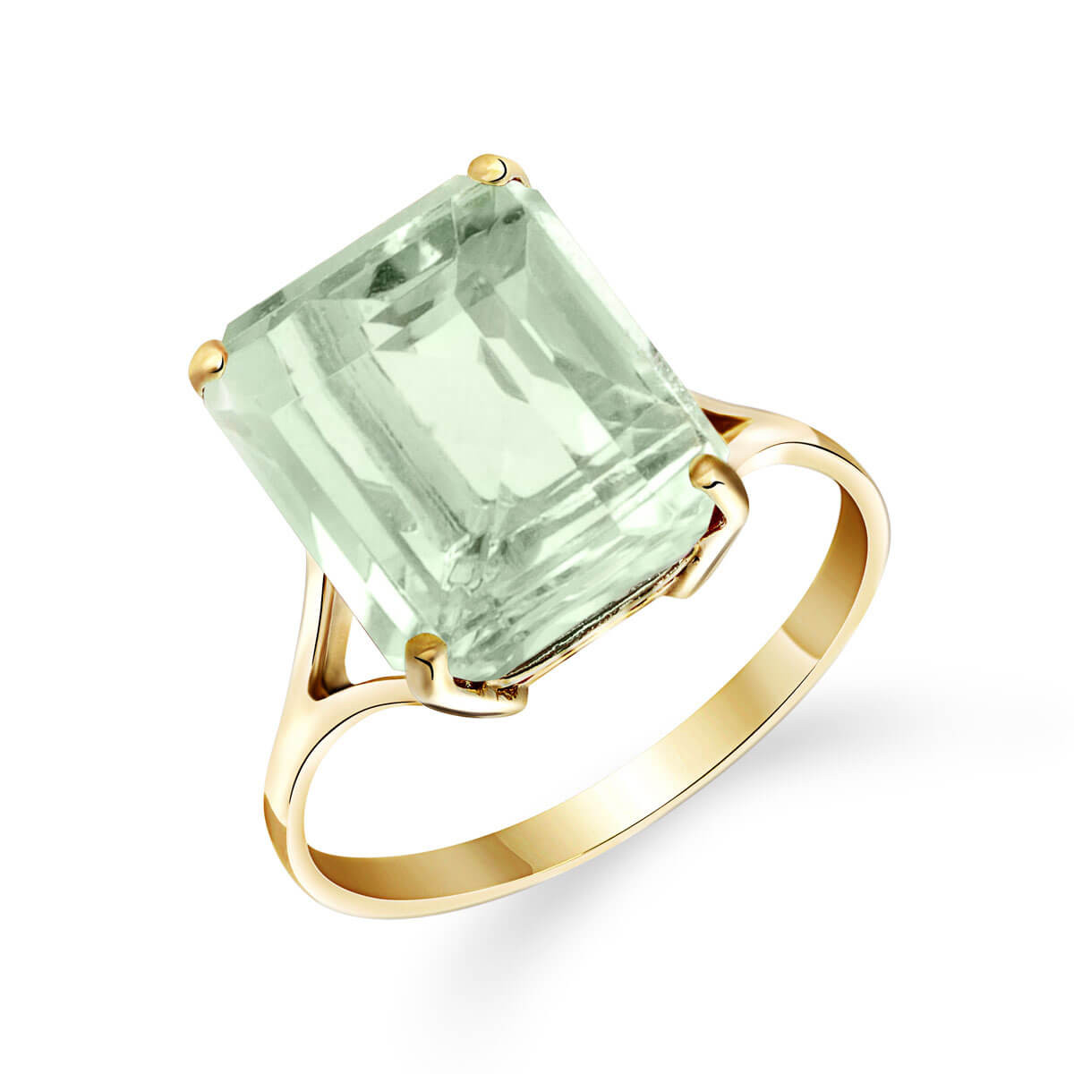 Green Amethyst Auroral Ring 6.5 ct in 9ct Gold